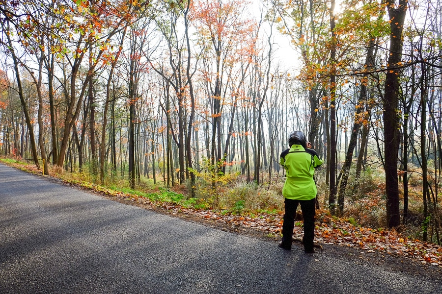 Steve Williams standing along a rural road making photographs