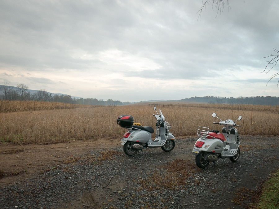 Two Vespa scooters in central Pennsylvania