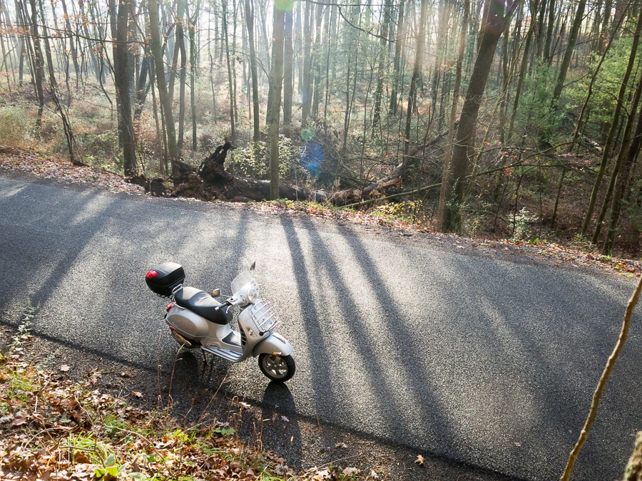 Vespa in the sunlight on a forest road