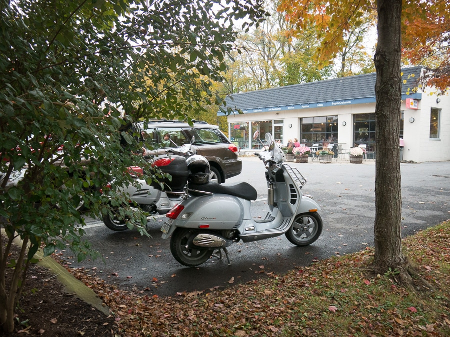 Two Vespa scooters at the Pump Station