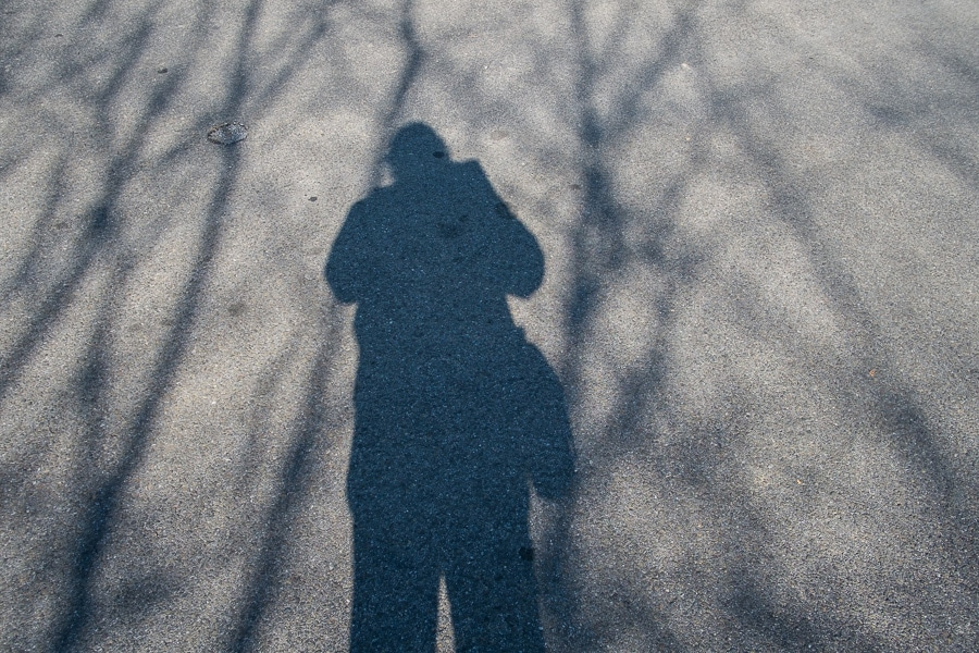 Shadow of photographer Steve Williams on pavement