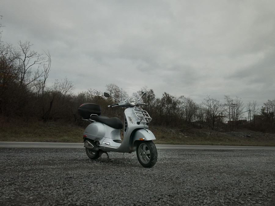 Vespa GTS scooter gripped by grayness
