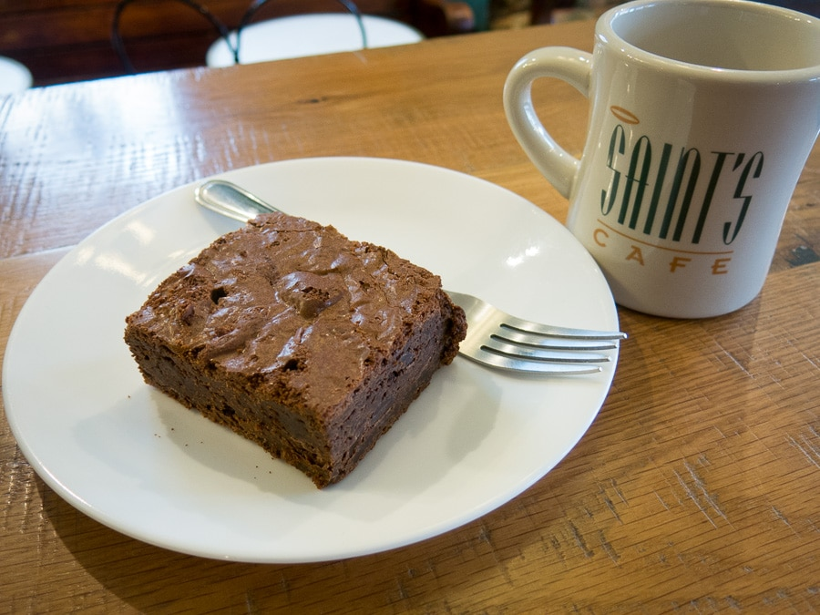 Chocolate brownie at Saint's Cafe