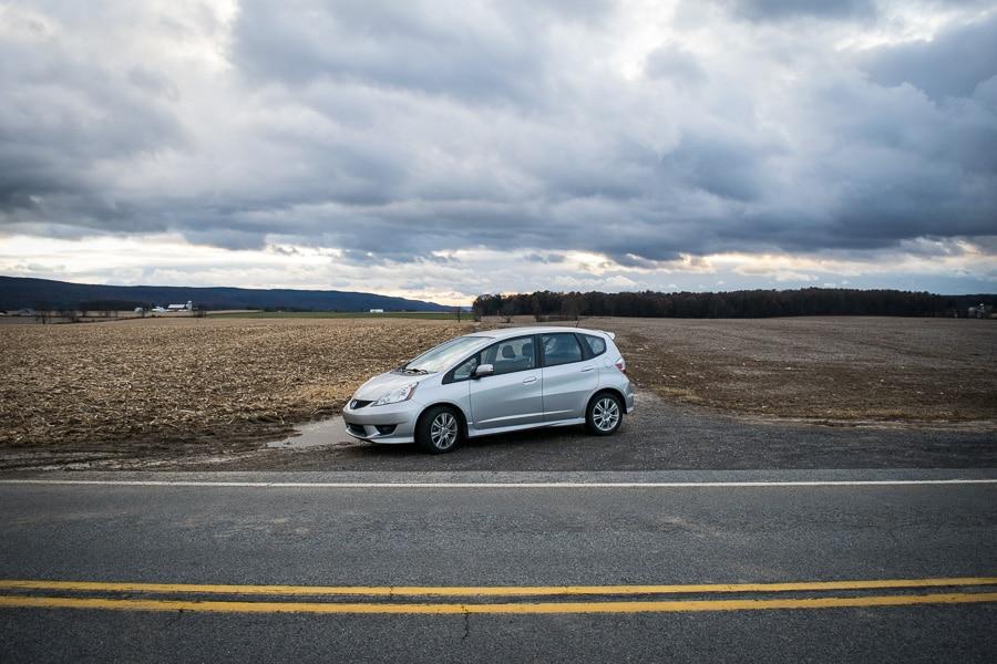 Honda Fit on rural road