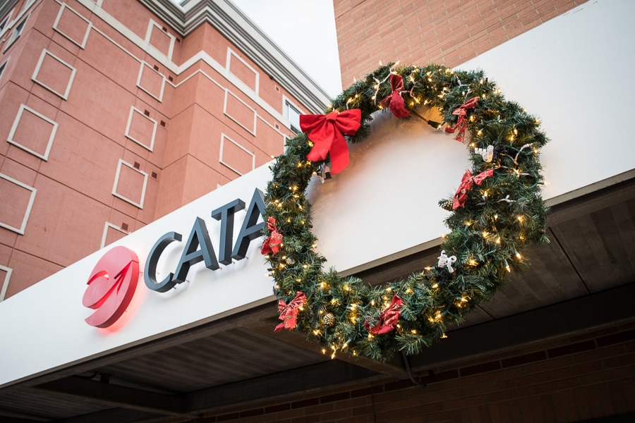 Christmas wreath at the CATA office