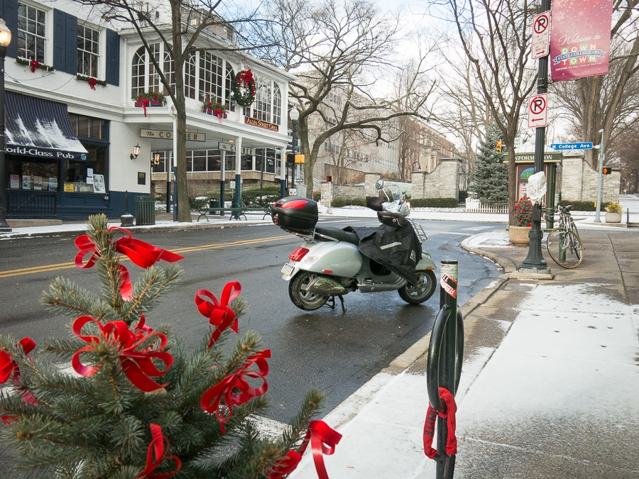 Vespa GTS scooter in State College, Pennsylvania on Christmas Day.