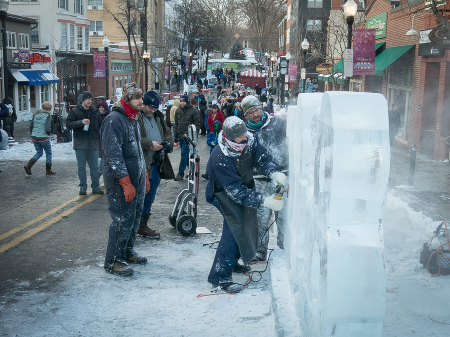 Ice sculpting at First Night in State College, Pennsylvania