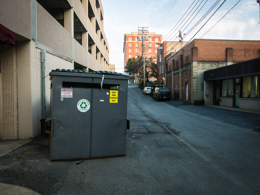 Dumpster in alley