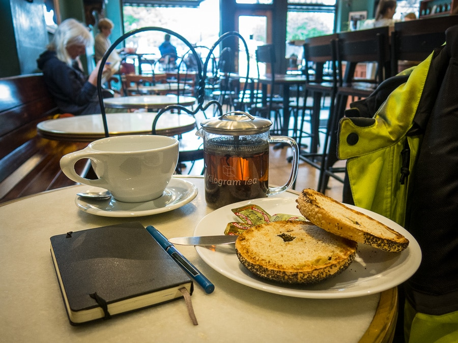 Bagel, tea and journal at Saint's Cafe in State College, Pennsylvania
