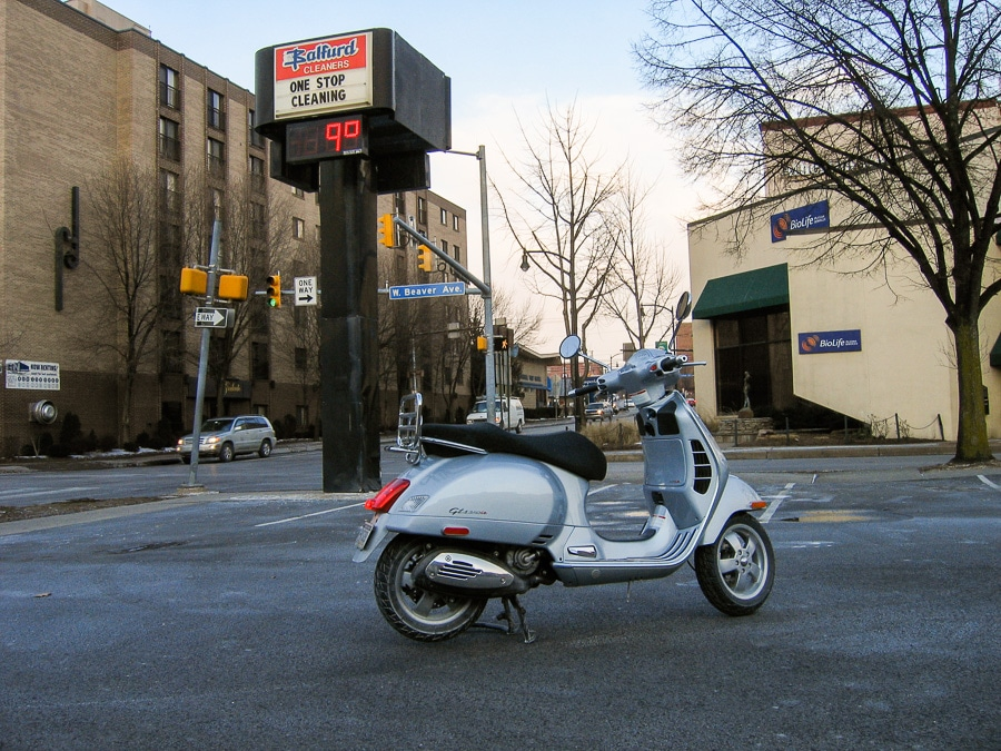 Vespa GTS scooter on a cold morning