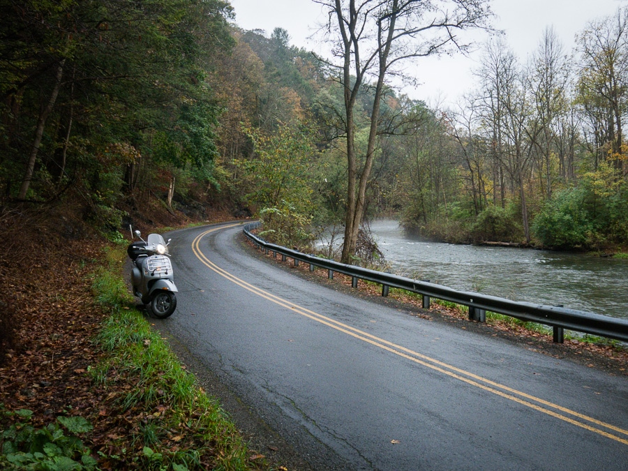 Vespa GTS scooter along Spring Creek