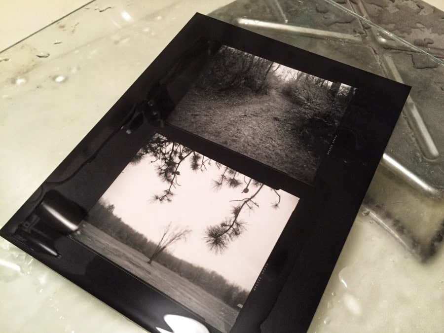 Black and white print in processing tray.